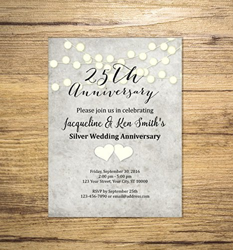 Image Unavailable. Image not available for. Color: 25th Wedding Anniversary Invitation ...