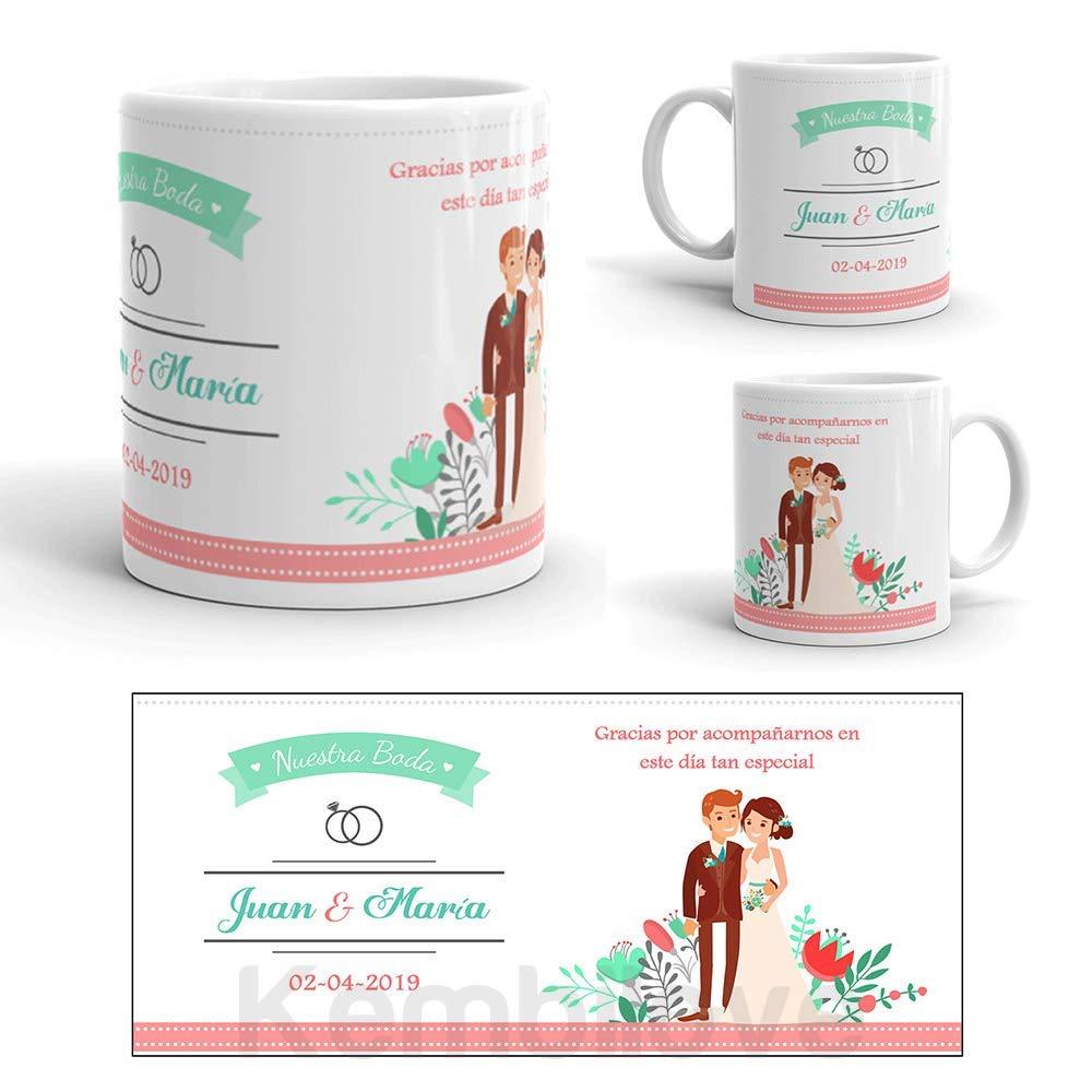 Kembilove Taza Personalizada Boda con Nombres y Fecha - Taza de café para los invitados Boda - Regalo Original para invitados de Bodas