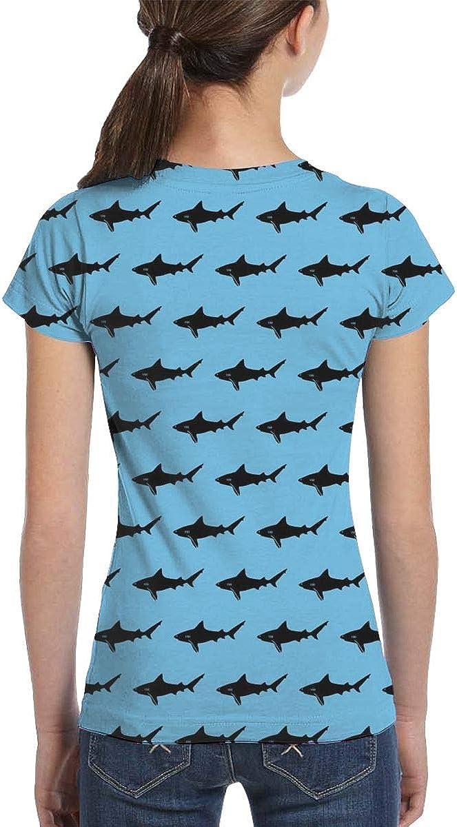 XS-XL Fashion Tunic Shirt Dress L6Nv4o@A Girls Short Sleeve Blue Shark Shirts