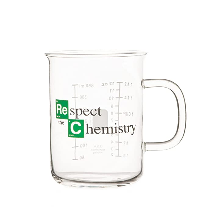 "394462c0e37 Amazon.com: Breaking Bad Mug – Beaker Coffee Mug – ""Respect the Chemistry""  Cool TV Props Breaking Bad Merchandise – Glass Breaking Bad Coffee Mug 12  oz ..."