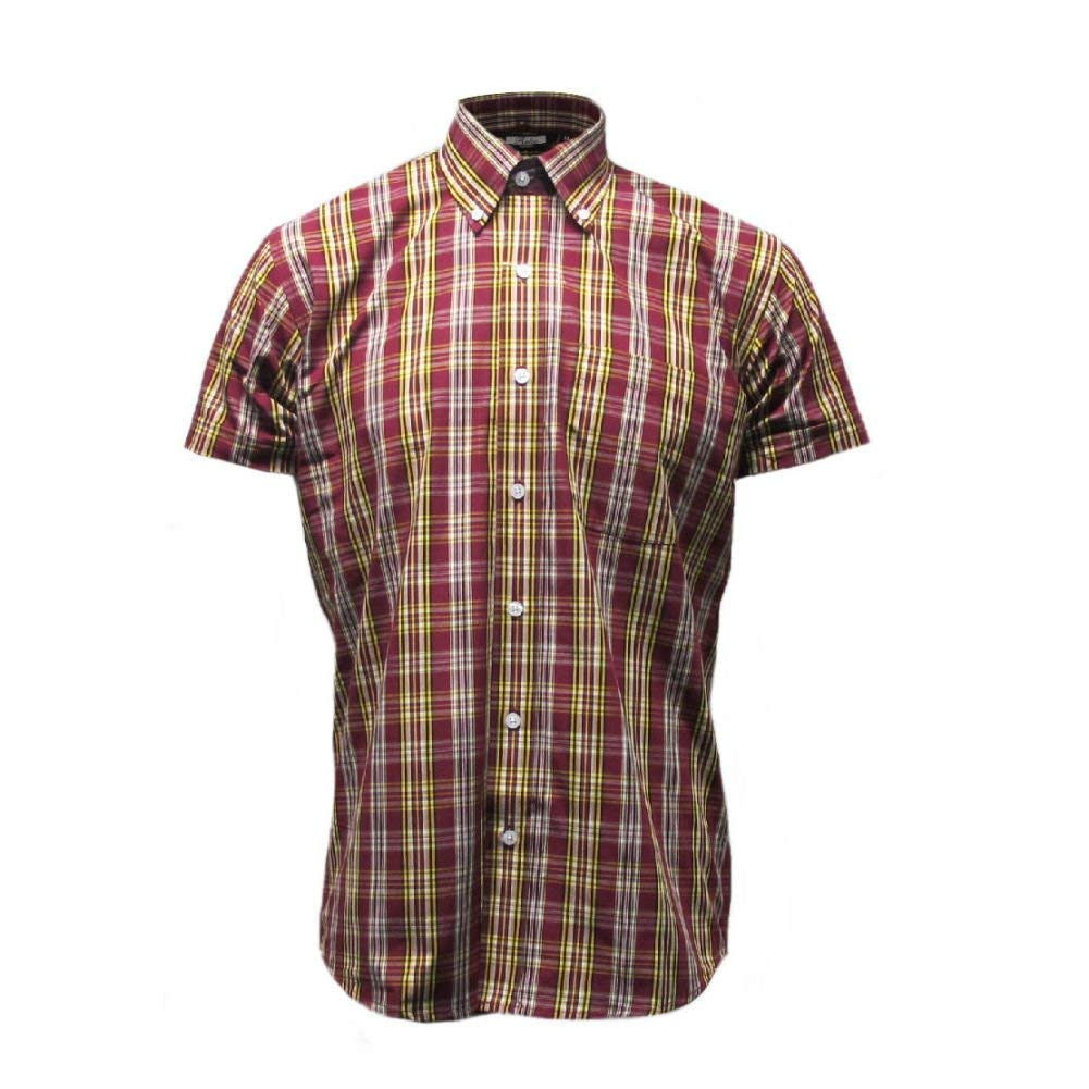 Vintage Inspired Dresses & Clothing UK Relco Mens Burgundy Yellow Black Check Short Sleeved Button Down Shirt Mod Skin Retro Indie £29.99 AT vintagedancer.com
