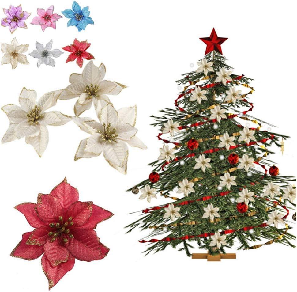 Yuciya 10 Pezzi Ciondolo Decorazione Albero di Natale Glitter Fiori Colorati con Floccaggio per Ornamenti Natalizi Decorazioni per Feste di Nozze