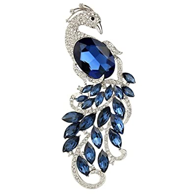 15fb6ea3c94 EVER FAITH Rhinestone Crystal Elegant Peacock Bird Animal Brooch Blue  Sapphire-Color Silver-Tone