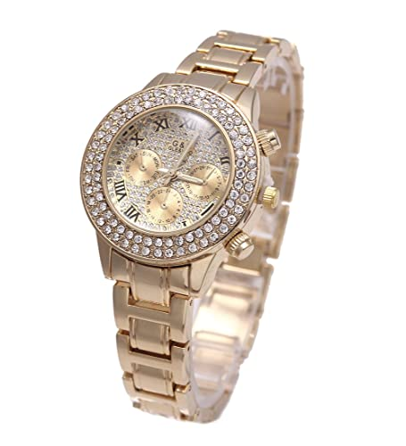 Sheli Gold überzogener Rhinestone Betonte Chronograph Wasserdichte Quarz Armbanduhren für Damen, 25m...