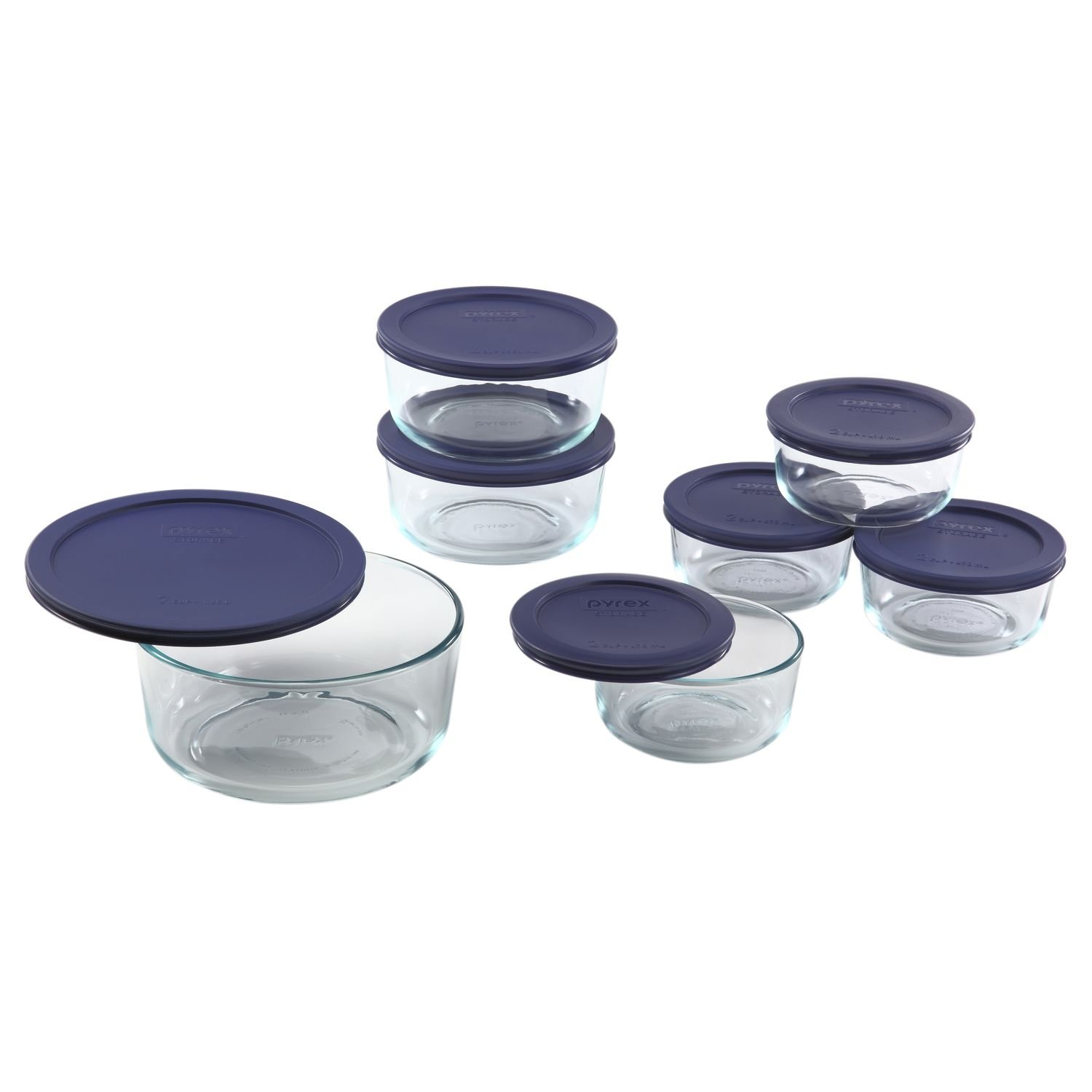 Pyrex Simply Store 14-Piece Round Glass Food Storage Set, Blue