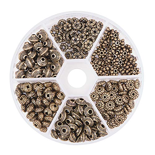 PH PandaHall 295pcs 6 Style Antique Bronze Spacer Beads Column Flower Bead Spacers for Bracelet Necklace Jewelry Making Findings Accessories