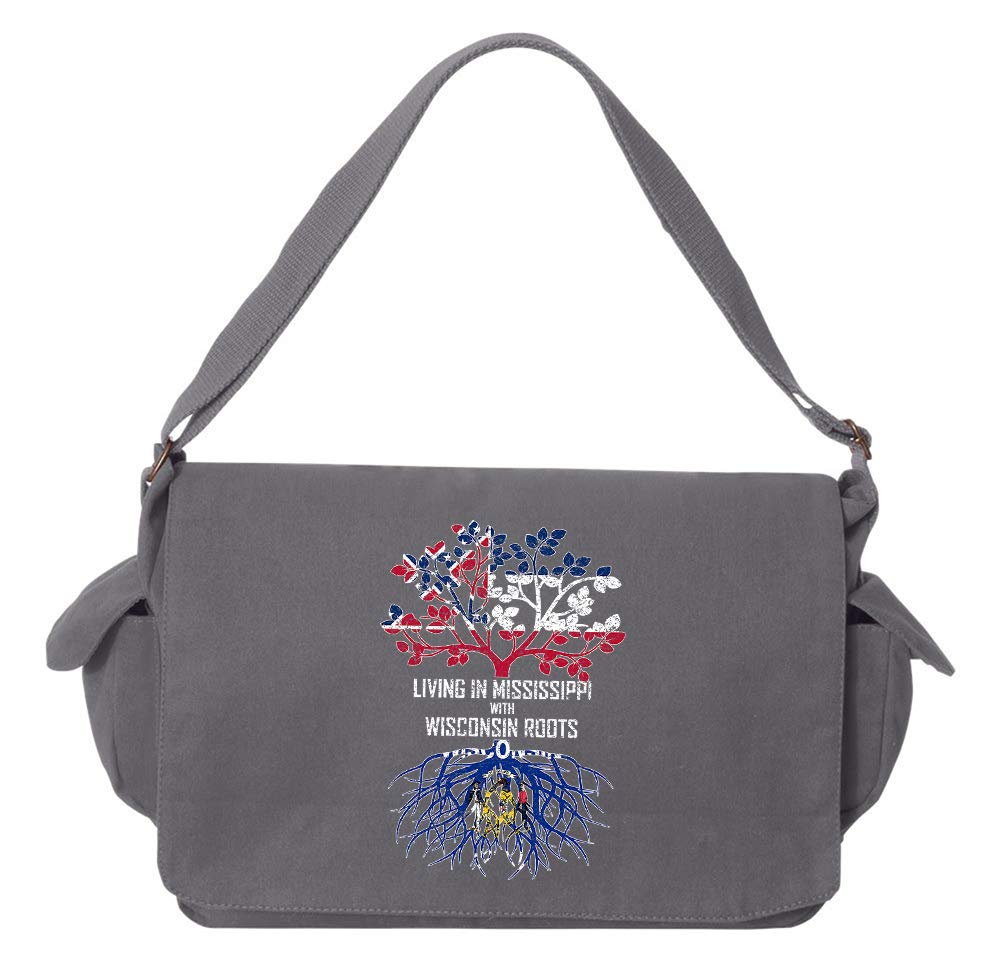 Tenacitee Living In Mississippi with Wisconsin Roots Grey Brushed Canvas Messenger Bag