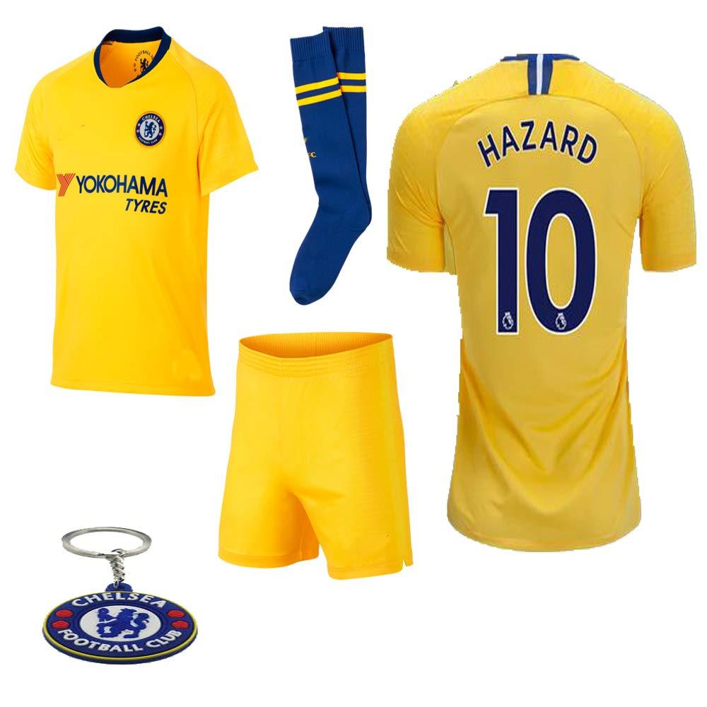 los angeles ac346 ddf4b Chelsea 2018 19 Replica Eden Hazard Kid Soccer Jersey Kit : Shirt, Short,  Socks, Bag, Key Chain