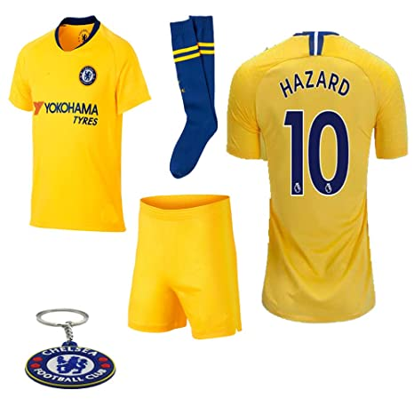 los angeles 0f02f 50454 Chelsea 2018 19 Replica Eden Hazard Kid Soccer Jersey Kit : Shirt, Short,  Socks, Bag, Key Chain
