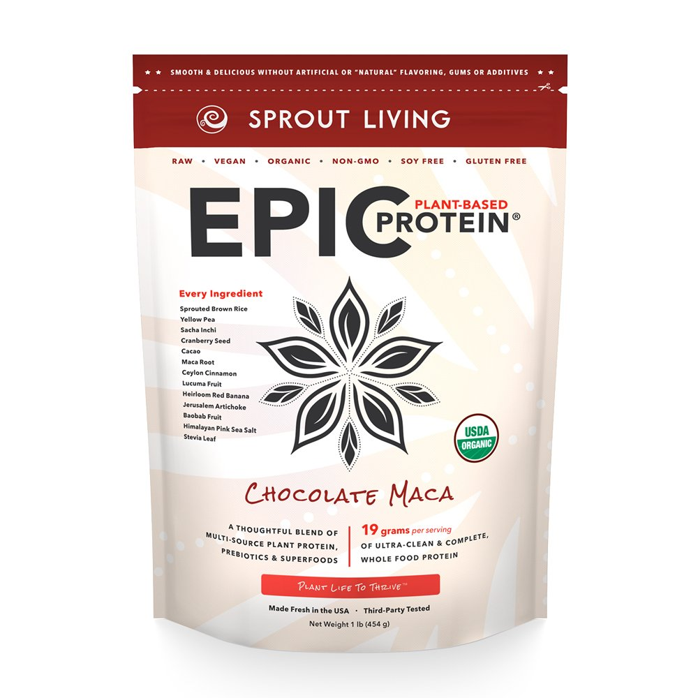 Sprout Living Epic Protein Powder, Chocolate Maca Flavor, Organic Plant Protein, Gluten Free, No Additives, 19 Grams Clean Vegan Protein (1 pound,14 servings)