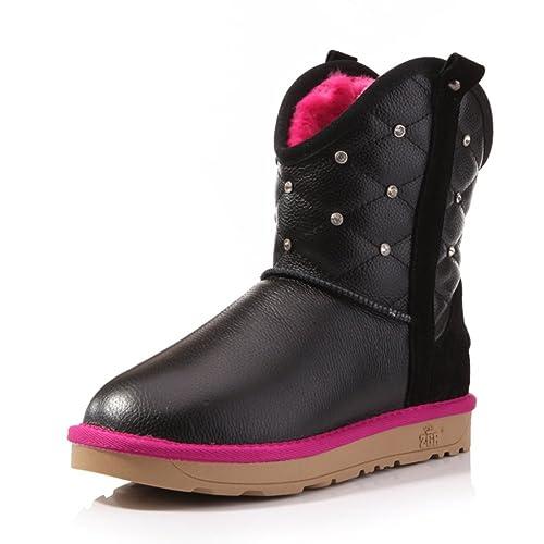 5e27666d Versión Coreana de Cuero Impermeable UGG Boots/Botas de en/Caliente ...