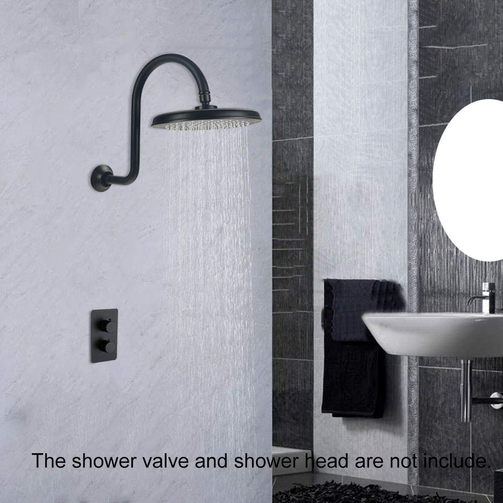 HAOXIN Shower Arm with Flange Brass 12 Inch S Shaped Shower Arm High Arc,Oil Rubbed Bronze,SA01B