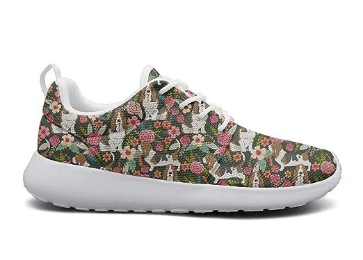 b69e7381eb46c Amazon.com: Women's Basset Hound Floral Dog Fitness Light Shoes ...