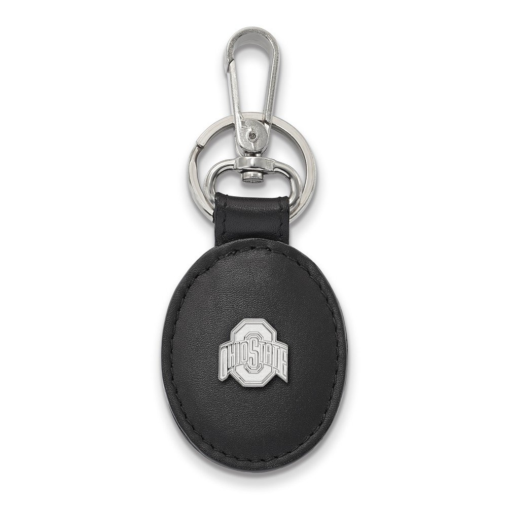Solid 925 Sterling Silver Ohio State University Black Leather Oval Key Chain