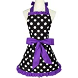 """Aprons for Women Retro Vintage Aprons, Cooking Kitchen Aprons Plus Size with Extra Ties & Pocket 28.3 x 24.4"""" (Purple)"""