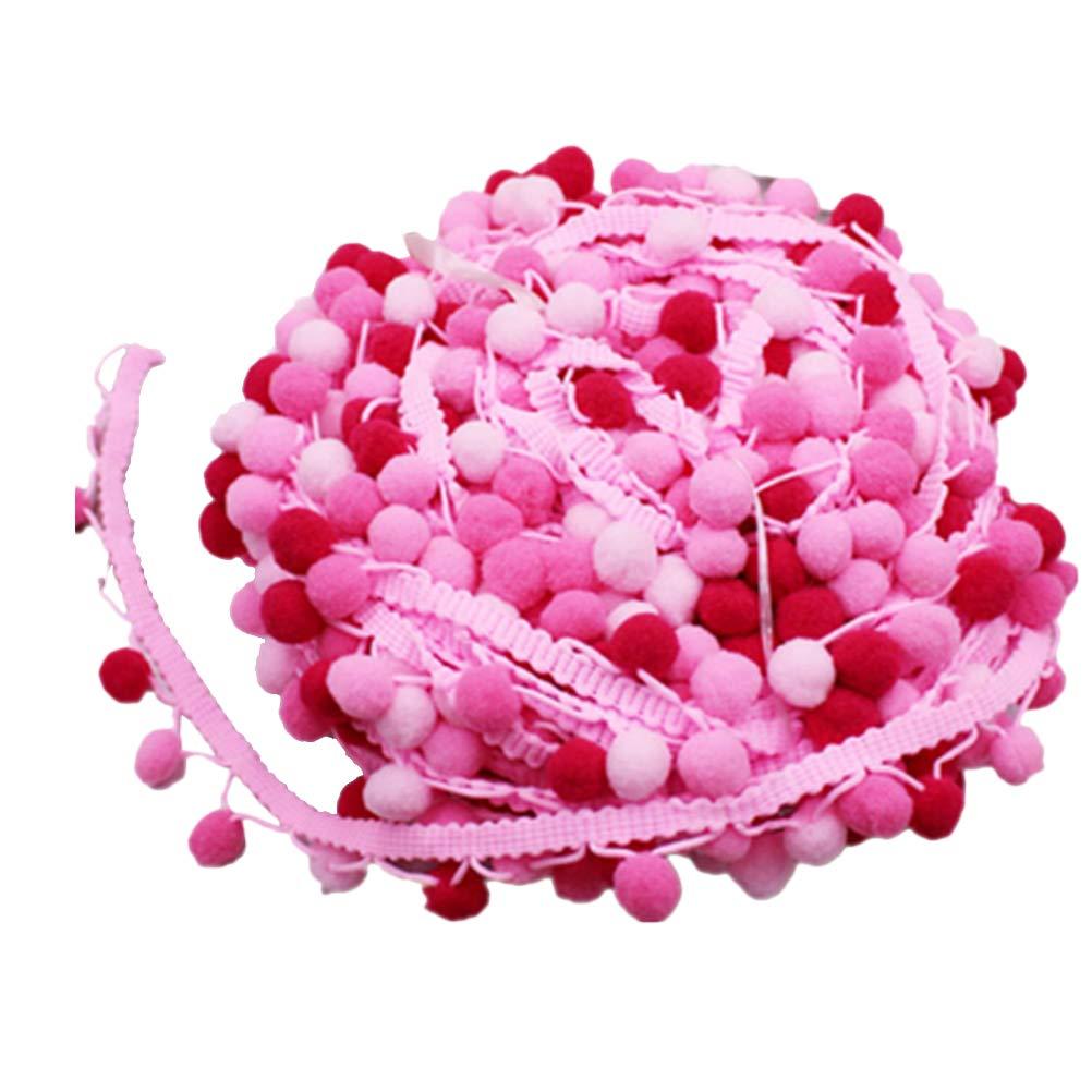 Rosa SUPVOX Pom Pom Nastro Pompon Fringe Trim per Rifiniture Cucito Fai da Te 4.5m