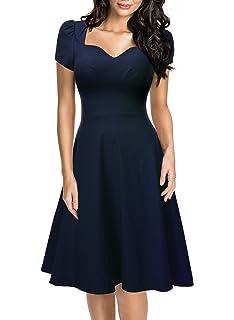 MIUSOL Casual Lavoro Coctel Vestito a Pieghe Donna Corta Blu X-Large ... ab4f3e9bbae