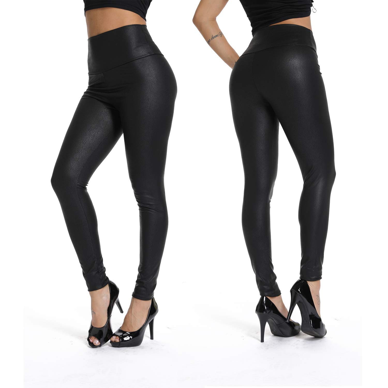 2 Matt Black(Upgraded order a size up) RIOJOY Womens Sexy Faux Leather Leggings Skinny PU Butt Lift Bodycon Pants High Waist Trousers