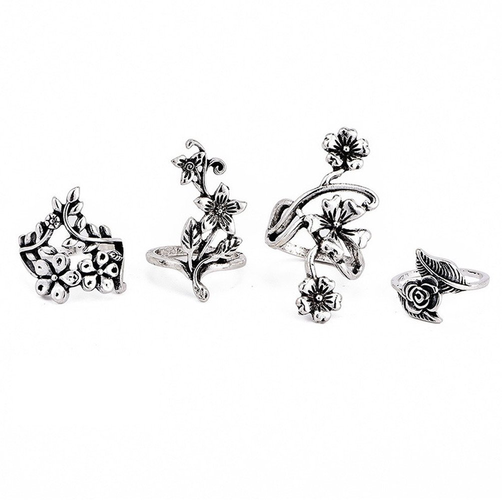 ManxiVoo 4 Pcs Bohemian Stacking Ring Set Vintage Silver Floral Joint Ring Set for Women (Silver, One Size)