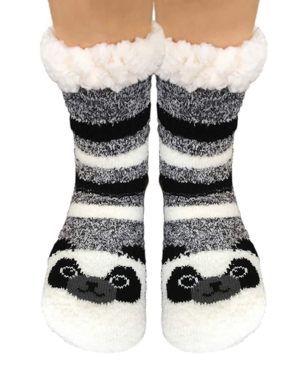 TOSKATOK Ladies Girls Warm Winter Fluffy Fun Super Soft Animal Fleece Lined anti slip gripper Bed Slipper Socks