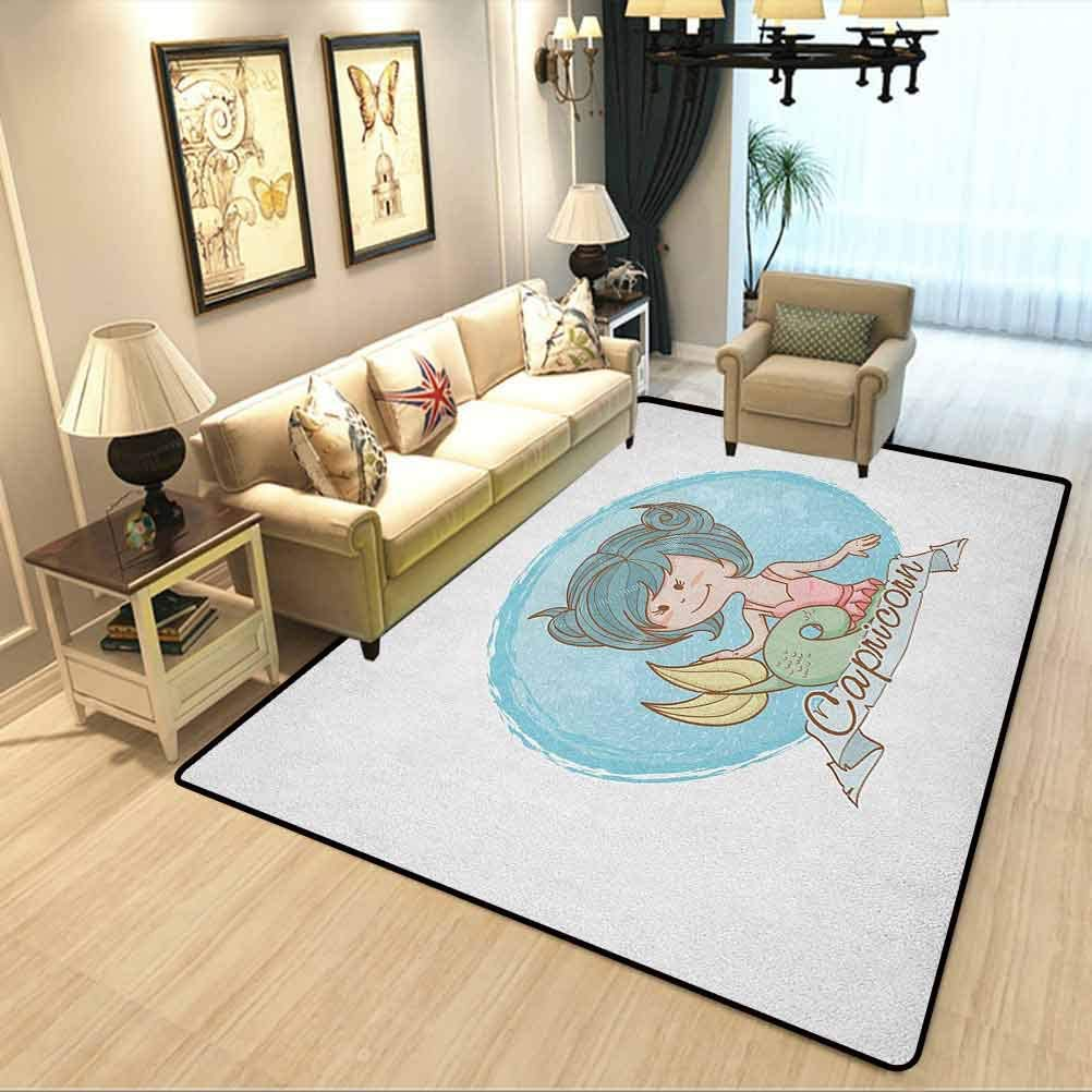 Amazon Com Zodiac Capricorn Baby Decor Modern Rug Pastel Toned Mermaid Girl On A Pale Background Astrology Themed Banner Room Carpet Stairs Carpet Carpet Rug Multicolor W4xl6 Feet Kitchen Dining