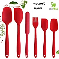 Silicone Spatula set 6pcs - Seamless Rubber Spatulas 500°F Heat Resistant with Stainless Steel Core, Kitchen Utensils Non-Stick for Cooking, Baking and Mixing - Red