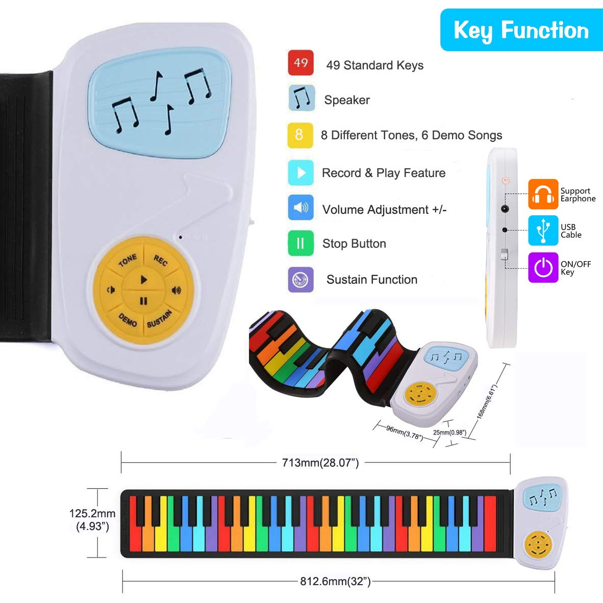 Elrido Roll Up Piano 49 Key Rainbow Silence Electronic Keyboard Childrens Hand Roll Piano with Built-in Speaker and Music Scores for Beginner Children Kids Gift