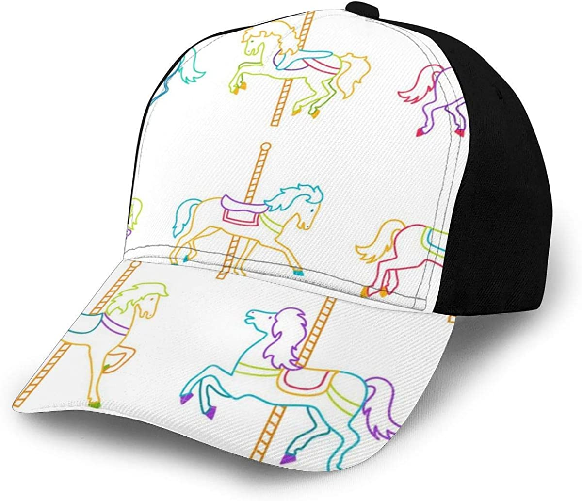Hand Drawn Carousel Horses Classic Baseball Cap Men Women Dad Hat Twill Adjustable Size Black