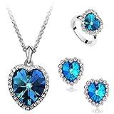 AnaZoz Joyería de Moda Juegos de Joyas de Mujer Chapado en Plata Forma Corazón Azul Cubic Zirconia Cristal Collar Pendientes y Anillo Tres Piezas Juegos de Joyas Color Azul