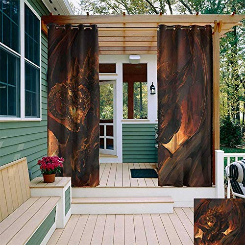 Suspension Inferno - leinuoyi Dragon, Outdoor Patio Curtains, Demonic Angry Molten Dragon with Horns Burning in Flames Imaginary Inferno Beast, for Gazebo W84 x L108 Inch Yellow Brown