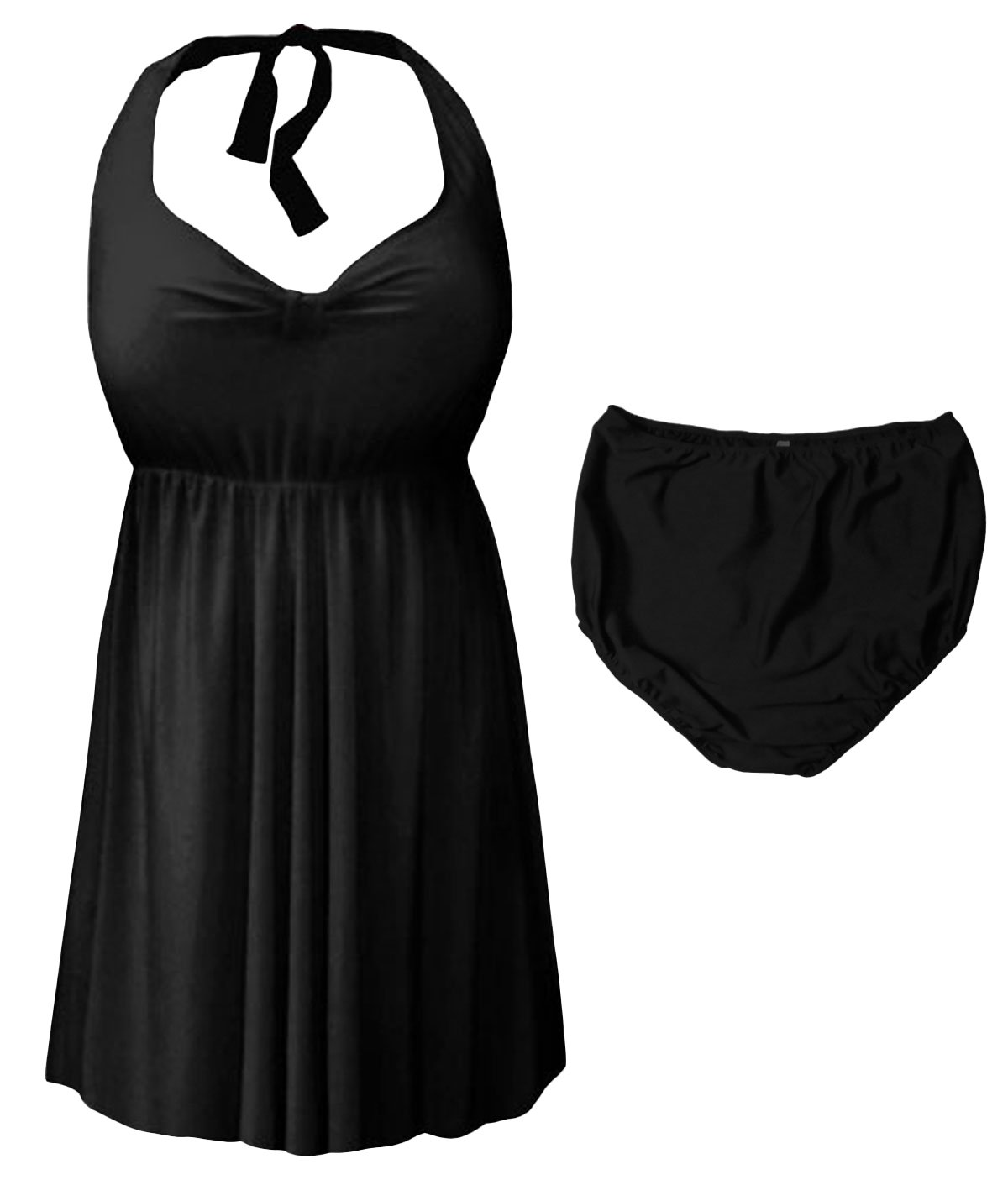 Sanctuarie Designs Black 2 Piece Halter Style Plus Size Swimdress 6X