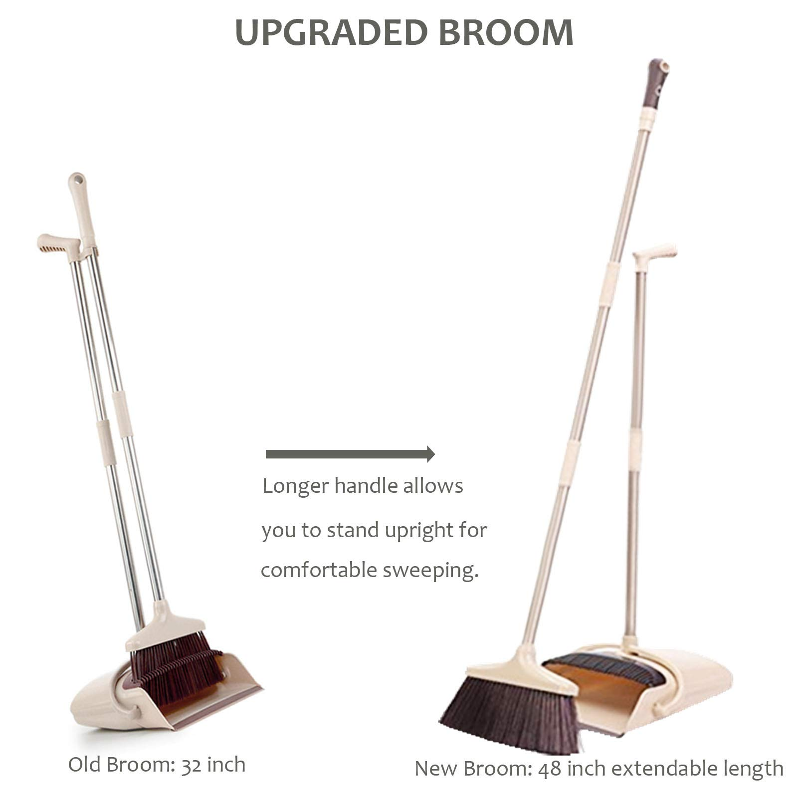 Broom and Dustpan Set, 48 inch Extendable Broom Standing Upright - Wind Proof - Foldable Sweep Set with Soft Bristles & Rubber Edge & Dust Pan with Teeth, Perfect for Kitchen, Garden, Office, etc. by SerBion (Image #6)