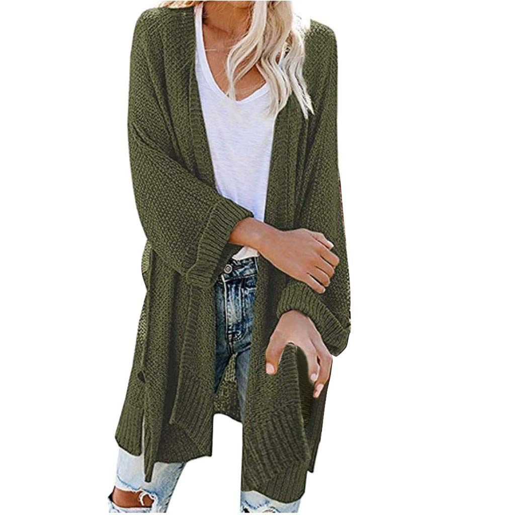 SturrlyWomen's Casual Open Front Long Sleeve Knit Cardigan Sweater Coat with Pockets Army Green by Sturrly
