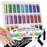 INGALA 24-Color Extra Fine Glitter Set + Body Art Kit – Rainbow Loose Glitter for Slime, Festivals, Crafts, Party Games, Kids Glitter Tattoos – Free Temporary Tattoo Kit with Stencils, Glue, Brush
