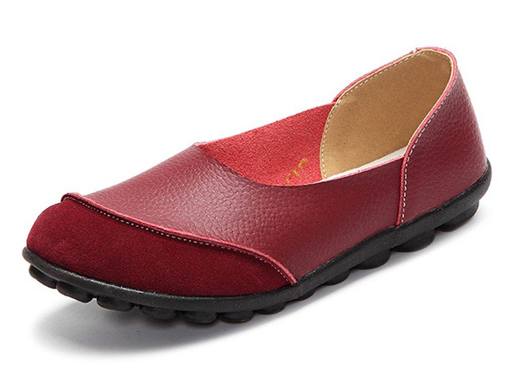 CCZZ 19647 Moccasin Femme Cuir Loafers Casuel Bateau Bateau Vin Chaussures de Flats Vin Rouge f7d77ee - conorscully.space