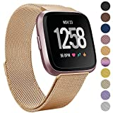 Onedream for Fitbit Versa Bands Rose Gold for Women Men, Accessories for Fitbit Versa Smartwatch & Special Edition, Metal Mesh Milanese Replacement Bands Wristbands Bracelet Strap, Small