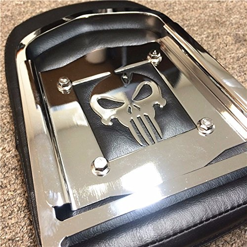 XKMT-Flame Backrest Sissy Bar Leather Pad Compatible With 1996-2005 Kawasaki Vulcan 800 Classic Chrome Steel [B013QJBQ72]