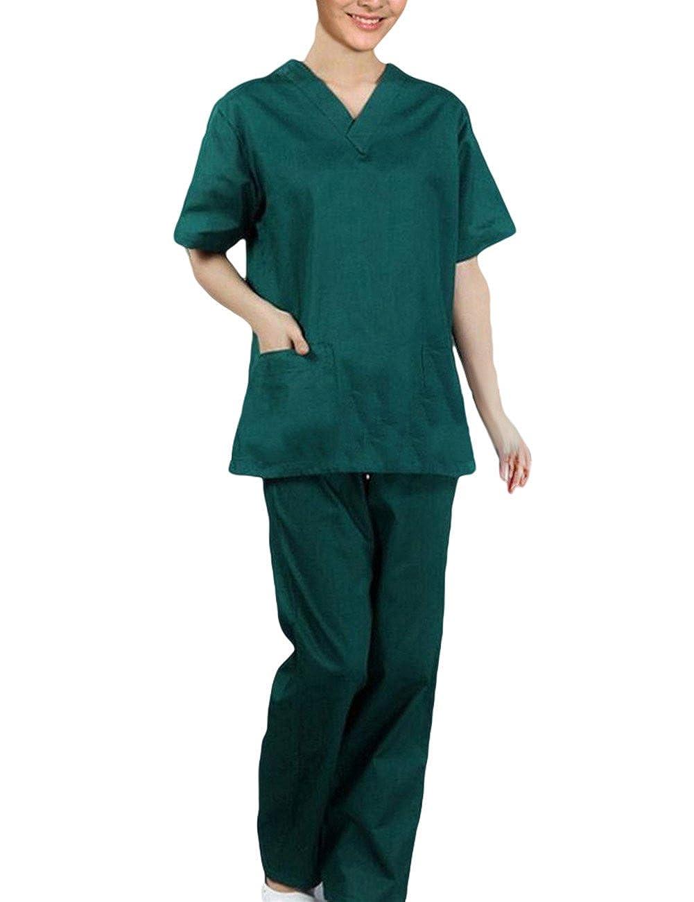 THEE Uniforme M/édico Ropa Enfermera de Manga Corta Bata M/édico Laboratorio Enfermera Sanitaria