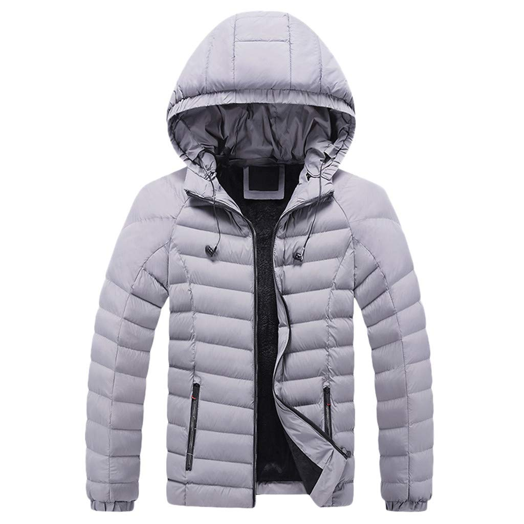 Men's Puffer Jacket Thicken Padded Winter Coat with Removable Hood, Robust rain Jacket for Boys with reflectors by VEZARON