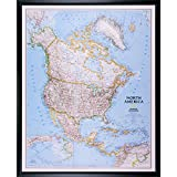 Craig Frames Wayfarer, Classic North America Push Pin Travel Map, Black Frame and Pins, 24 x 30 Inch