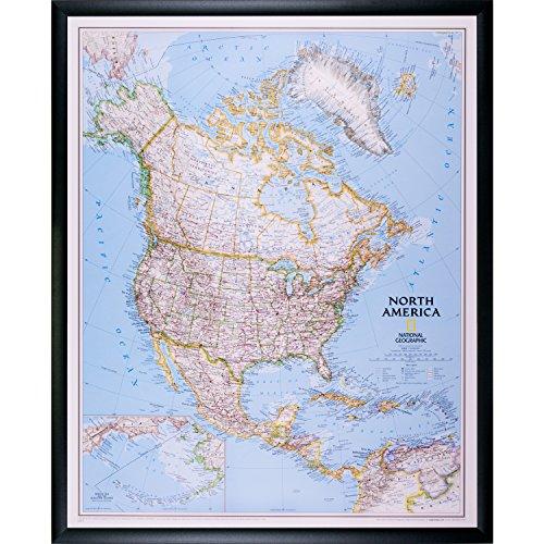 Craig Frames Wayfarer, Classic North America Push Pin Travel Map, Black Frame and Pins, 24 x 30 Inch