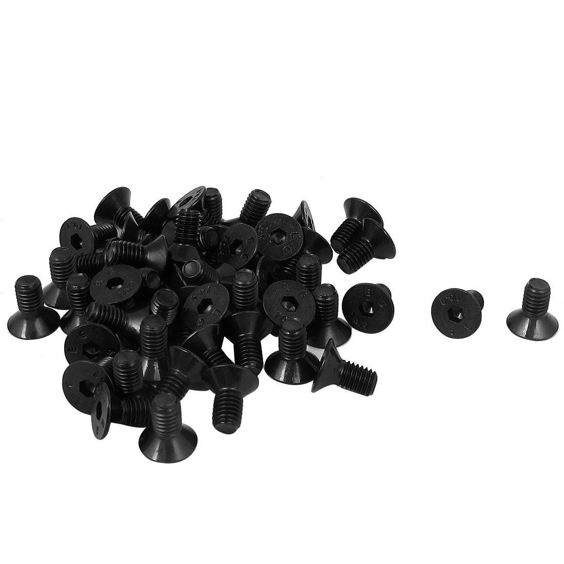uxcell M5 x 10mm Metric Hex Socket Countersunk Head Screw Bolts Black 50PCS