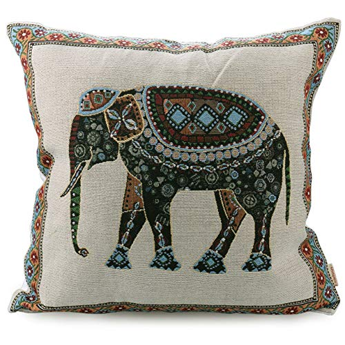 (Luxbon Tapestry Jacquard Retro Indian Elephant Cotton Linen Throw Pillow Case Home Decor Sofa Couch Chair Cushion Cover Animal Decorative 18