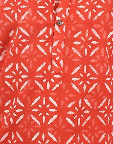 Indian Designer Handmade Cotton Short Mens Kurta Casual Punjabi Traditional Wear Clothing, Dark Peach by RAJRANG (Image #3)