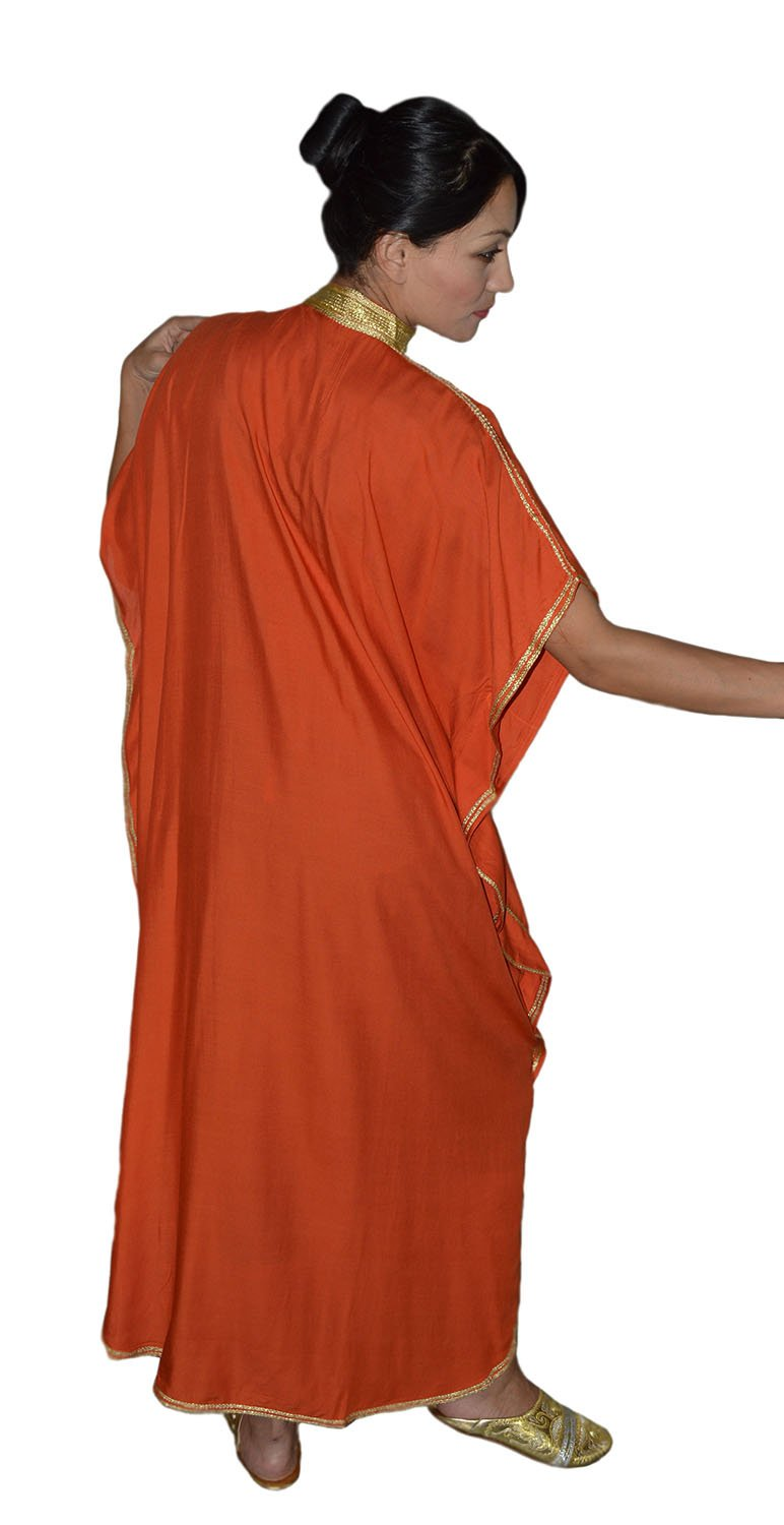 Moroccan Caftan Hand Made Breathable Cotton with Gold Hand Embroidery Long Orange by Moroccan Caftans (Image #6)