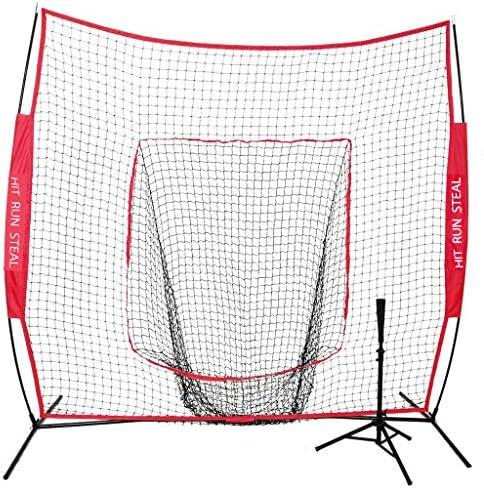 Hit Run Steal Baseball and Softball Hitting Net with Portable Travel Tee. 7 x 7 Practice Hitting Net with Portable Batting Tee