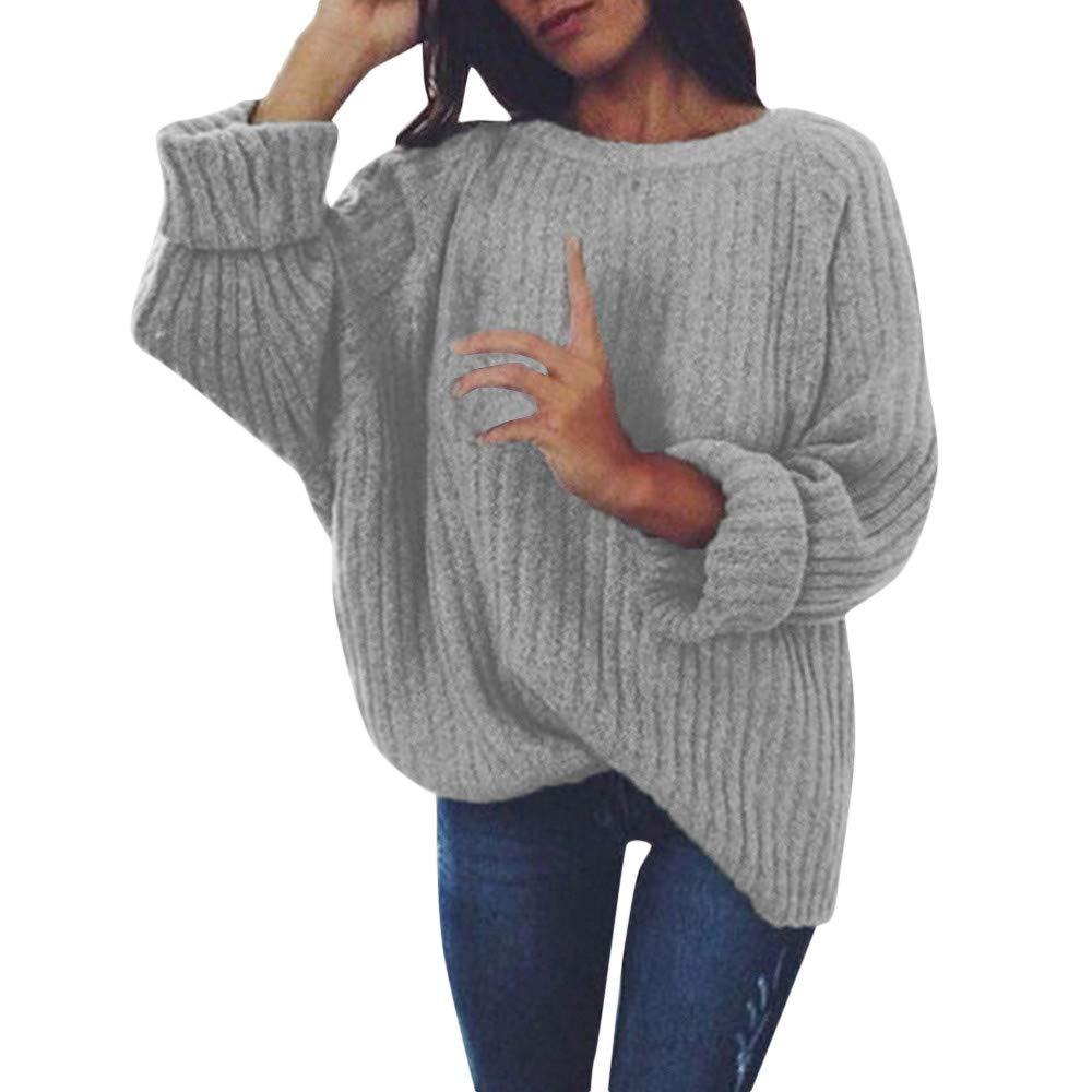 MYMYG Mujer Invierno Sué teres Jersey de Punto Suelto Color Só lido Manga Larga Camisetas de Punto Sué ter para Otoñ O Invierno Pullover Blusa Jumper