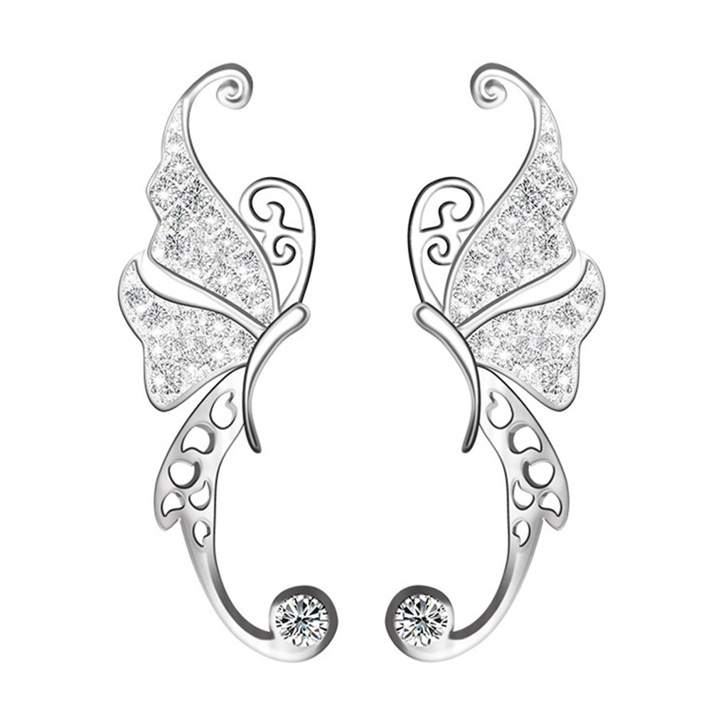 Ear Crawler, Mariafashion Cuff Earrings Sterling Silver Ear Climber Butterfly Diamond Zircon Stud Earrings (White)