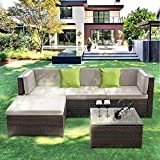 IKAYAA Outdoor Patio Furniture Set, 5 Piece Wicker Rattan Sectional Sofa Set with Soft Cushions, Glass Coffee Table