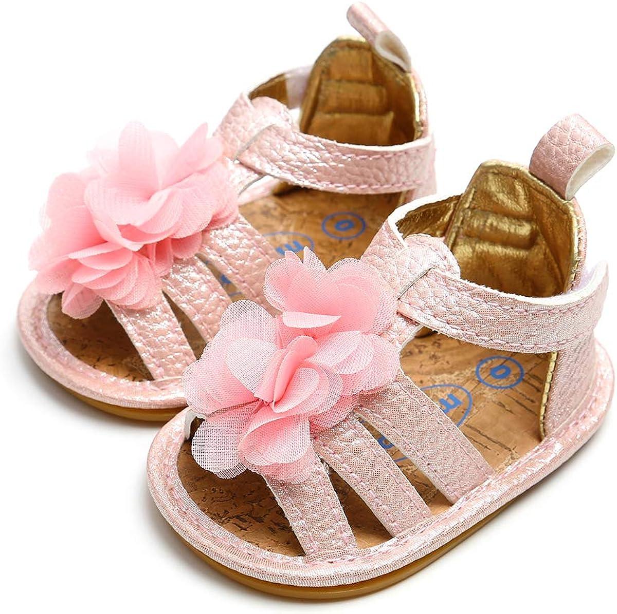 Babelvit Premium Baby Girls Sandals Flower Dress Shoe Soft Closed Toe Infant Toddler Princess Flats First Walkers Shoes